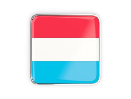 metallic border: Flag of luxembourg, square icon with metallic border. 3D illustration Stock Photo