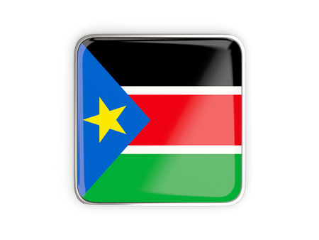 south sudan: Flag of south sudan, square icon with metallic border. 3D illustration