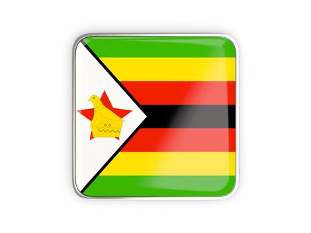 metallic border: Flag of zimbabwe, square icon with metallic border. 3D illustration