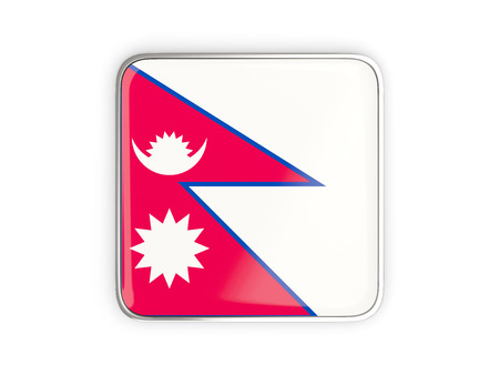nepal: Flag of nepal, square icon with metallic border. 3D illustration