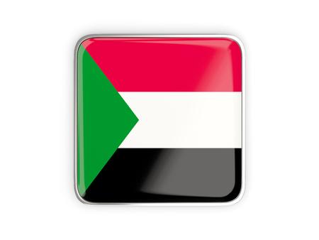metallic border: Flag of sudan, square icon with metallic border. 3D illustration