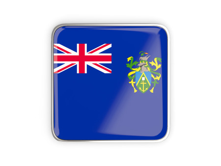 pitcairn: Flag of pitcairn islands, square icon with metallic border. 3D illustration