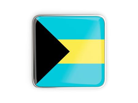 metallic border: Flag of bahamas, square icon with metallic border. 3D illustration Stock Photo