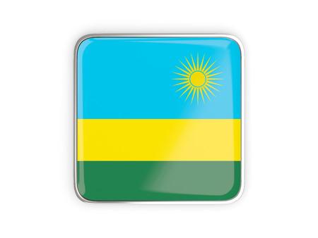 metallic border: Flag of rwanda, square icon with metallic border. 3D illustration