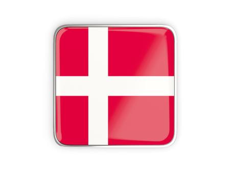 metallic border: Flag of denmark, square icon with metallic border. 3D illustration