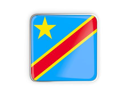 Flag of democratic republic of the congo, square icon with metallic border. 3D illustration Stock Photo