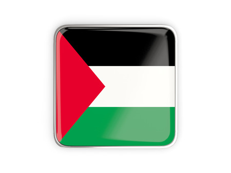 palestinian: Flag of palestinian territory, square icon with metallic border. 3D illustration