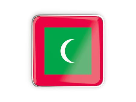metallic border: Flag of maldives, square icon with metallic border. 3D illustration Stock Photo