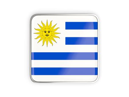metallic border: Flag of uruguay, square icon with metallic border. 3D illustration