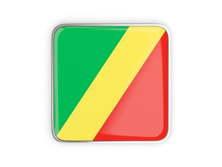 metal button: Flag of republic of the congo, square icon with metallic border. 3D illustration Stock Photo