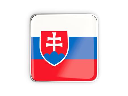metallic border: Flag of slovakia, square icon with metallic border. 3D illustration Stock Photo
