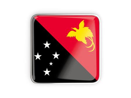 metal button: Flag of papua new guinea, square icon with metallic border. 3D illustration