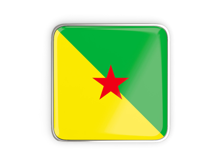 Flag of french guiana, square icon with metallic border. 3D illustration