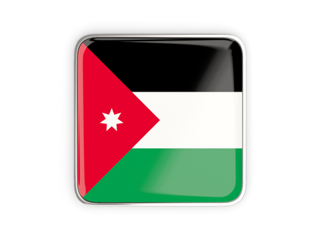 metallic border: Flag of jordan, square icon with metallic border. 3D illustration Stock Photo