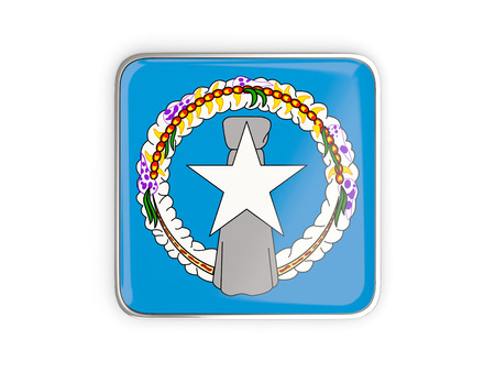 Flag of northern mariana islands, square icon with metallic border. 3D illustration