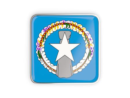metallic border: Flag of northern mariana islands, square icon with metallic border. 3D illustration