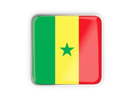 metal button: Flag of senegal, square icon with metallic border. 3D illustration Stock Photo