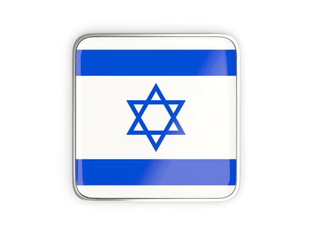 metallic border: Flag of israel, square icon with metallic border. 3D illustration