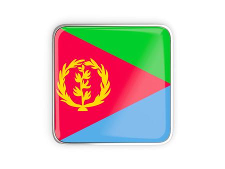 metallic border: Flag of eritrea, square icon with metallic border. 3D illustration Stock Photo