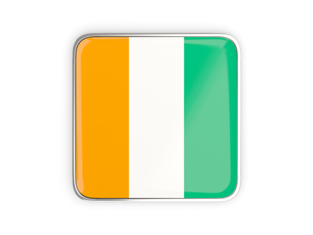 Flag of cote d Ivoire, square icon with metallic border. 3D illustration