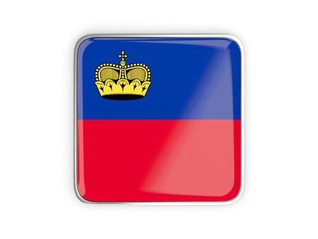 liechtenstein: Flag of liechtenstein, square icon with metallic border. 3D illustration