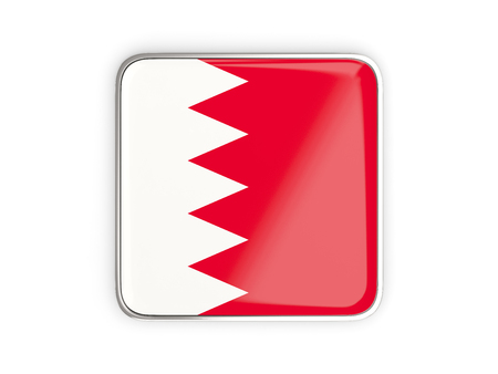 bahrain: Flag of bahrain, square icon with metallic border. 3D illustration Stock Photo