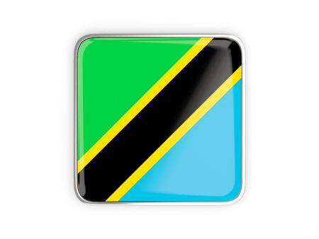 metallic border: Flag of tanzania, square icon with metallic border. 3D illustration