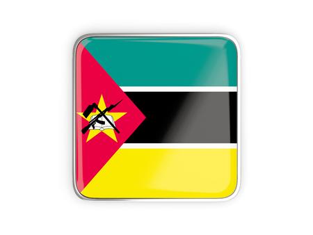 metallic border: Flag of mozambique, square icon with metallic border. 3D illustration