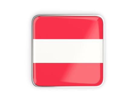 metallic border: Flag of austria, square icon with metallic border. 3D illustration