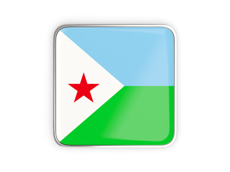 Flag of djibouti, square icon with metallic border. 3D illustration