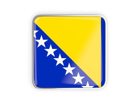 metallic border: Flag of bosnia and herzegovina, square icon with metallic border. 3D illustration Stock Photo