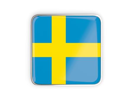 metallic border: Flag of sweden, square icon with metallic border. 3D illustration