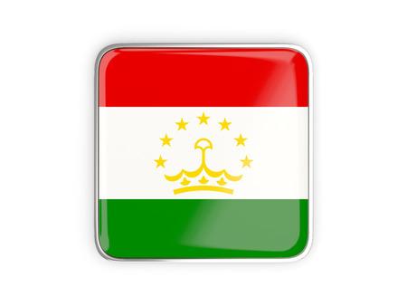 metallic border: Flag of tajikistan, square icon with metallic border. 3D illustration