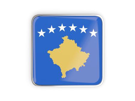 kosovo: Flag of kosovo, square icon with metallic border. 3D illustration Stock Photo