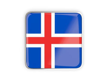 metallic border: Flag of iceland, square icon with metallic border. 3D illustration