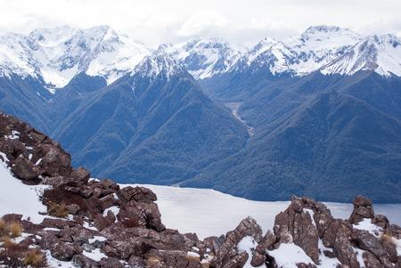 kepler: Snow covered mountains at Kepler Track, New Zealand Stock Photo