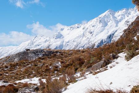 snow covered mountains: Snow covered mountains at Routeburn Track, New Zealand