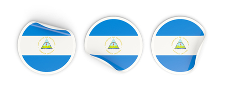 nicaragua: Flag of nicaragua, three round labels isolated on white. 3D illustration