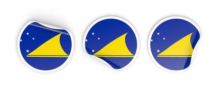 tokelau: Flag of tokelau, three round labels isolated on white. 3D illustration