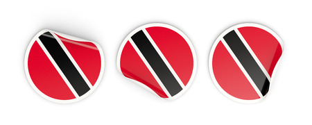 Flag of trinidad and tobago, three round labels isolated on white. 3D illustration