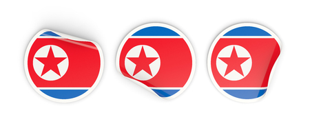 Flag of north korea, three round labels isolated on white. 3D illustration