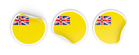 niue: Flag of niue, three round labels isolated on white. 3D illustration