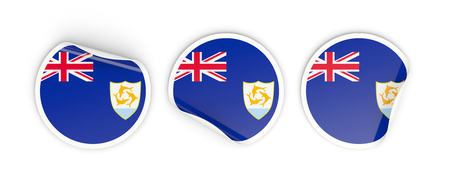 anguilla: Flag of anguilla, three round labels isolated on white. 3D illustration Stock Photo