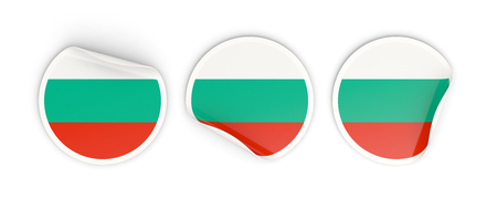 Flag of bulgaria, three round labels isolated on white. 3D illustration