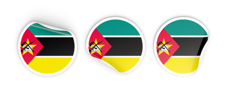 Flag of mozambique, three round labels isolated on white. 3D illustration