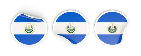 bandera de el salvador: Flag of el salvador, three round labels isolated on white. 3D illustration Foto de archivo