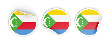 Flag of comoros, three round labels isolated on white. 3D illustration Stock Photo