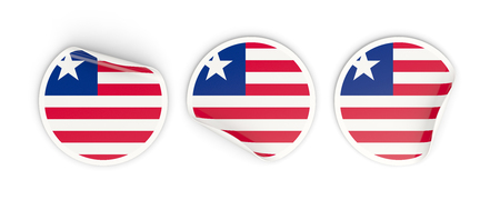 Flag of liberia, three round labels isolated on white. 3D illustration Stock Photo