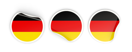 Flag of germany, three round labels isolated on white. 3D illustration