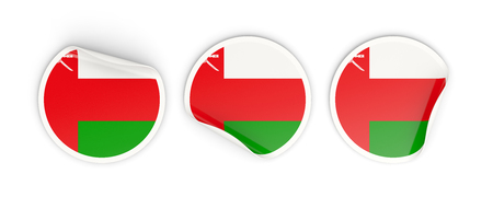 oman: Flag of oman, three round labels isolated on white. 3D illustration